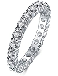 925 Sterling Silver Ring, Boruo 2mm Cubic Zirconia CZ Eternity Engagement Wedding Band Stackable Ring