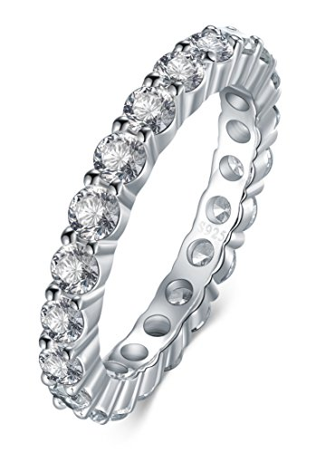 925 Sterling Silver Ring, Boruo 2mm Cubic Zirconia CZ Eternity Engagement Wedding Band Stackable Ring Ring Size 7 (2 Mm Ring)