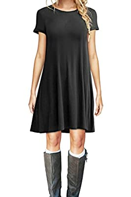 Carterstory Women's Dress Casual Plain Tshirt Dress Plus Size Loose Swing Dresses