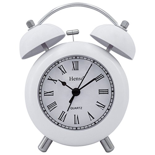 HENSE 4.5'' Retro Vintage Twin Bell Bedroom Table Alarm Clocks Silent Quartz Movement Non Ticking Sweep Second Bedside Desk Alarm Clock with Nightlight and Loud Alarm HA02 (White,Roman Numerals)