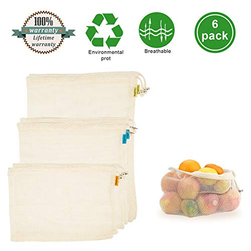 Reusable Cotton Bags, Produce Bags Vegetable Bags Fruit Bags Reusable Produce Grocery bags Reusable Mesh Bags Organic Produce Bags Eco Bag Set Of 6?2 Small, 2 Medium, 2 Large?