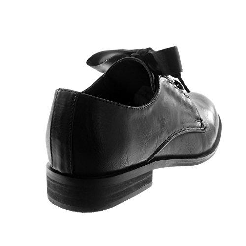 2 Angkorly Femme Noir cm Chaïnes Ruban Bloc Mode Chaussure Lacet Satin Talon Derbies 5 gvqxTZ6wg