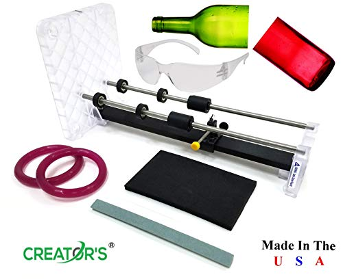Creator#039s Glass Bottle Cutter Machine  Pro USA Quality  Most Trusted Reviews  Carbide Scoring Wheel Engraved Ruler Ball Bearing Rollers Safety Glasses  Craft Wine/Beer Bottles  Made In The USA