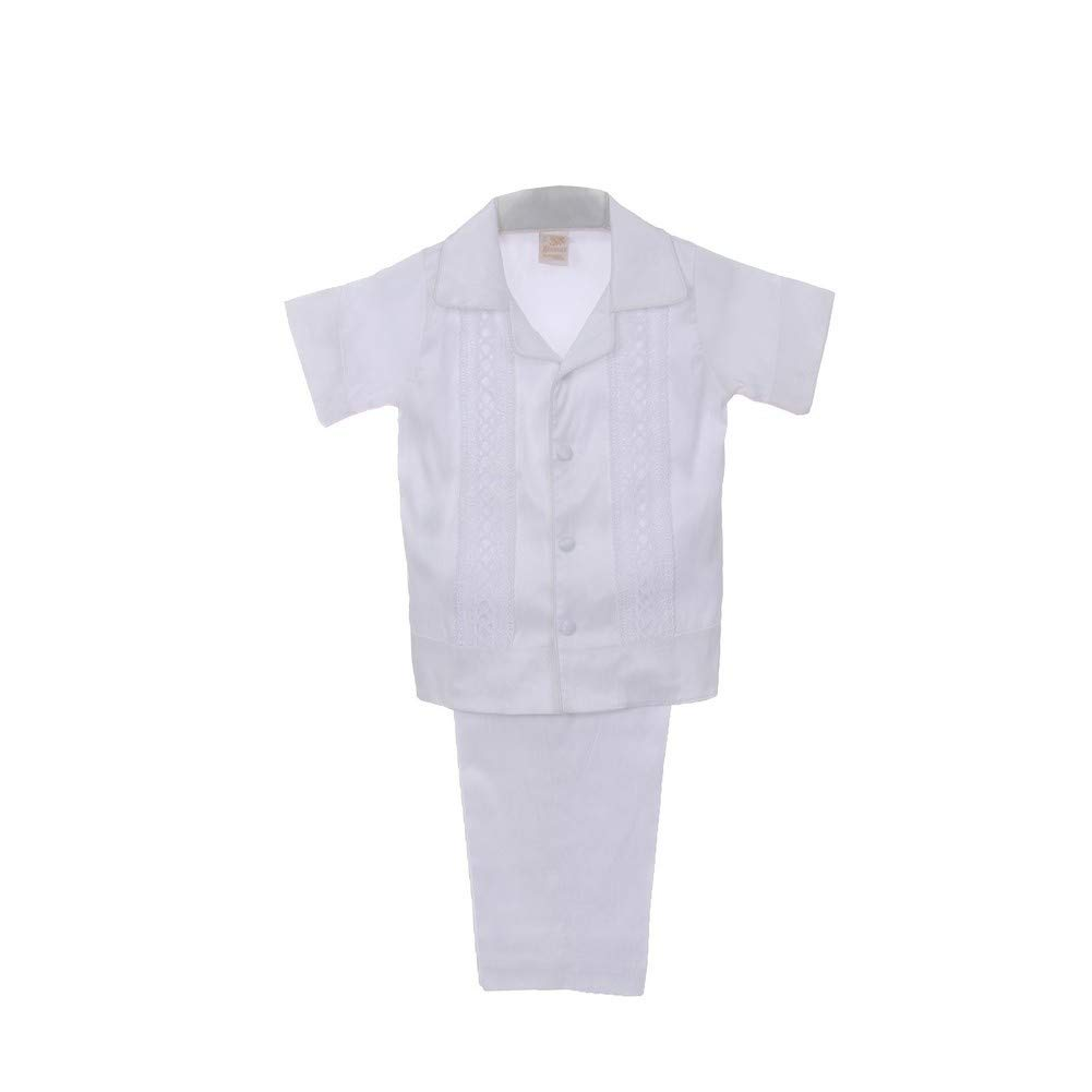 Rain Kids Little Boys White Shantung Silk Guayavera Shirt Stole Pants Baptism Set 2T-6