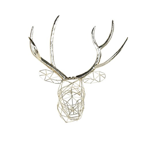 Kate and Laurel Milty Geometric Hanging Deer Head Silver Metal Wall Art Designer Metal Wall Decor Sculpture