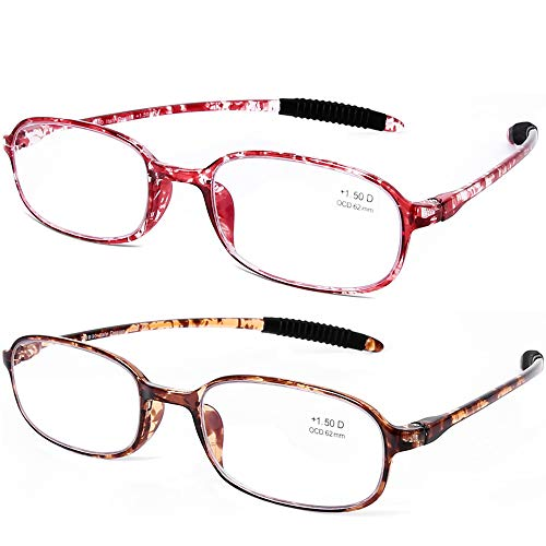 AQWANO 2 Pack Blue Light Blocking Computer Reading Glasses UV Protection Flexible TR90 Frame lightweight Readers Glasses for Women Men +2.0