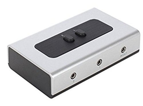 2 PORT 3.5mm STEREO Manual Switch Box AUX Audio Speaker selector(Wall Mount Hole Built-in, wall or table available)
