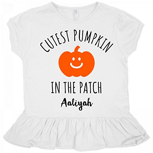 Halloween Cutest Pumpkin Aaliyah: Toddler Rabbit Skins Ruffle Fine Jersey Tee (Aaliyah Halloween)