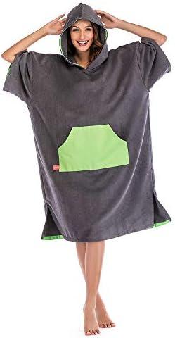 タオルポンチョ ビーチタオル交換用ローブ長袖タオル交換ポンチョ/ドライローブその他のサイズ 速乾軽量 (Color : Green, Size : Adult(110x75cm))