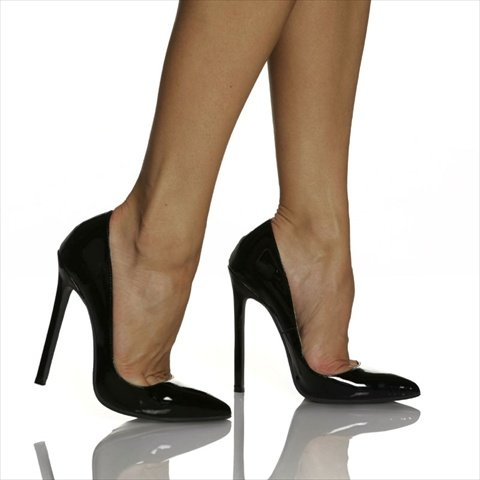 The Highest Heel Women's Hottie Stiletto,Black Patent,9 M US -