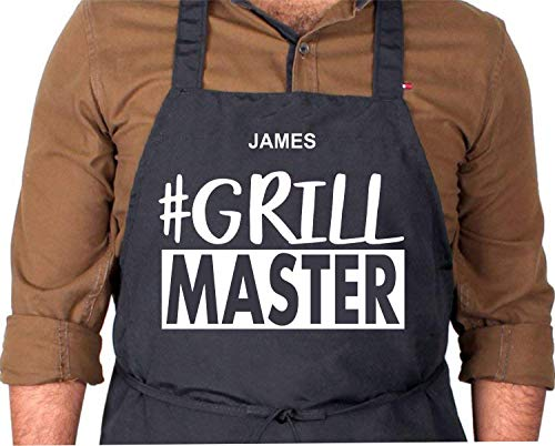PERSONALIZED BBQ HASHTAG GRILL MASTER Black Adult Apron, Hashtag Gift, Apron Gift, Dad Gift, Fathers Day Gift, Birthday Gift, Anniversary Gift, Fun Gift, Gift For Him