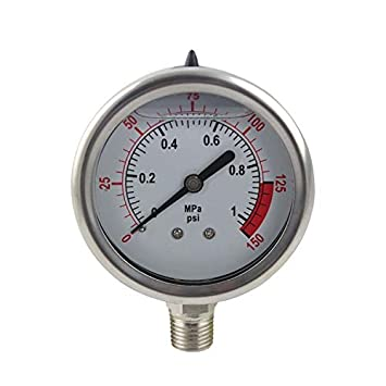PureSec 2018 Glycerin/Liquid Filled RO Water Pressure Gauge/Meter with 1/4-inch quick fittings (0-1kg(MPa)/0-150psi) Jeamsworld