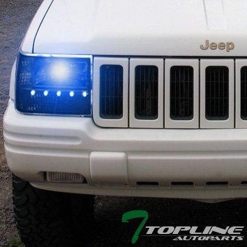 Topline Autopart Factory Crystal Style 10000K HID Xenon Chrome Smoke LED  Headlights Signal Corner Light Lamp