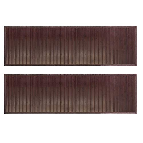 mDesign Long Bamboo Rectangular Spa Bath Mat/Runner Rug with Fabric Trim - Water Resistant - for Bathroom Vanity, Bathtub/Shower, Entryway - Environmentally Friendly, 60