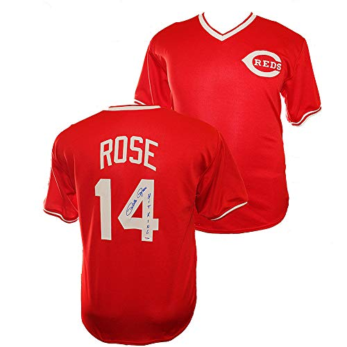 (Pete Rose Autographed Signed Cincinnati Reds Custom Red Jersey - Hit King Inscription - PSA/DNA Certified Authentic)