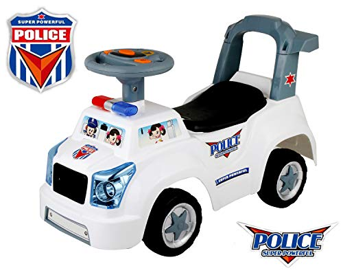 POCO DIVO Police Car 3-in-1 Baby Walker Toddler Ride On Buggy Pretend Play Toy Kids Gliding Scooter with Music & Light