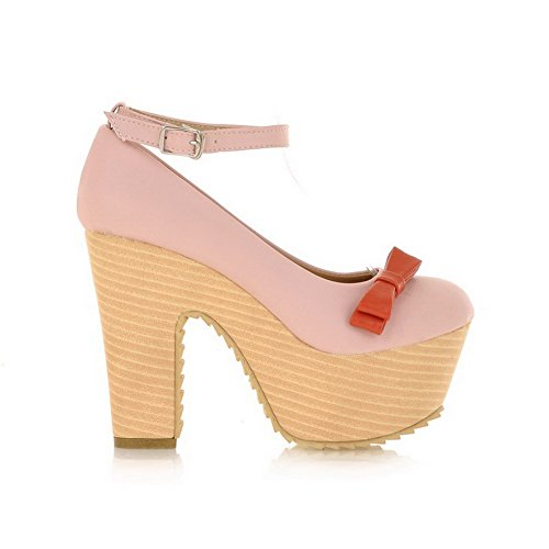 Balamasa Womens Buckle High Heels Solid Pumps Shoes Pink 4sTJKcAG
