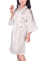 1ea68063b1 Admireme Kids  Satin Kimono Robe Bathrobe Nightgown For Spa Party Wedding  Birthday