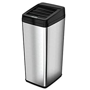 iTouchless Sliding-Lid Fully Automatic Touchless Sensor Trashcan, 14 Gallon / 52 Liter, Stainless Steel