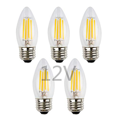 (OPALRAY 4W Low Voltage DC/AC 12V 24V LED Bulb, Dimmable with DC Dimmer, E26 Medium Base, Warm White Light, Clear Glass Torpedo Tip, 400Lm 40W Incandescent Equivalent, 12V-24V Power Input, 5 Pack)