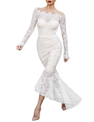 Dsstyles Femmes Sexy Mince Robe Col Col Bateau En Dentelle Élégante Jupe En Queue De Poisson De Mariage Blanc