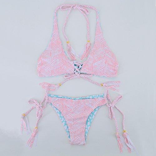Honghu Bohemia Floral Vacation Bikini Conjuntos para Mujer Trajes De Baño Beachwear Swimwear Bañadores Rosa