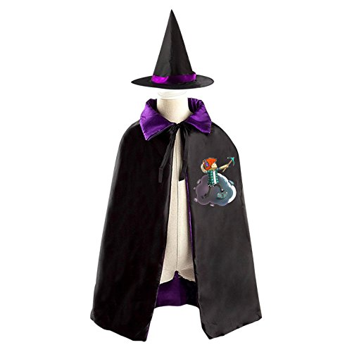 Minecraft TDM Halloween Costumes Decoration Cosplay Witch Cloak with Hat (Black)