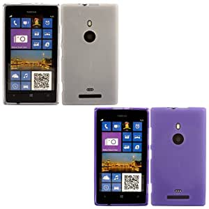 2 Pack Gel Case Cover Shell For Nokia Lumia 925 / Off White And Purple