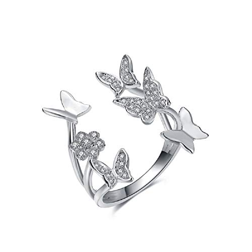 ELFTUNE Sterling Silver Plated Cubic Zirconia Cluster Butterfly Open Cuff Adjustable Engagement Round Ring Valentine Day Birthday Gift Fashion Jewelry ()