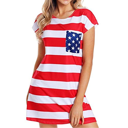 Misaky Women's Dresses Summer Daily Independence Day Flag Stripe Print Round Neck Short Sleeve Mini Dress(Red) ()