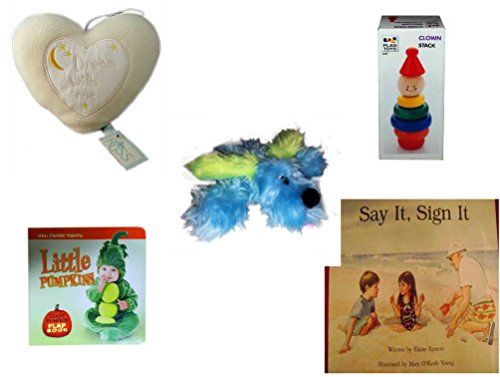 Children's Gift Bundle - Ages 0-2 [5 Piece] Includes: Russ Baby ''Dream With Me'' Hanging Heart Pillow, Clown Stack, Furry Blue Dog Plush, Little Pumpkins Giant Pumpkin Flap Book, Say It, Sign It by Secure-Order-Marketplace Gift Bundles