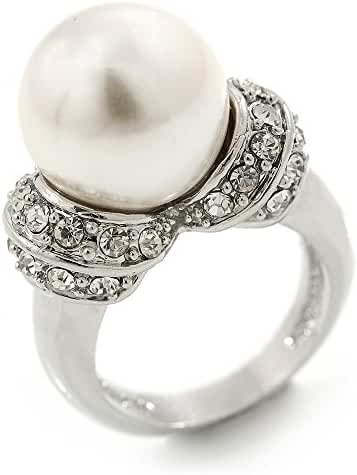 14mm White Glass Pearl, Crystal Ring In Rhodium Plating - Size 8
