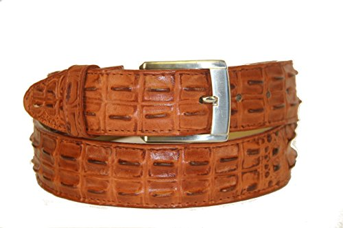 (Men' Belt Crocodile Alligator Head Cut Design Embossed Leather Cowboy Western Cognac (33-34))