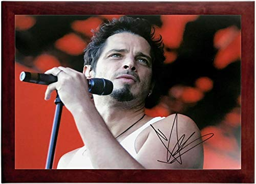 Chris Cornell Autograph Replica Super Print - Red Background - Landscape - Framed
