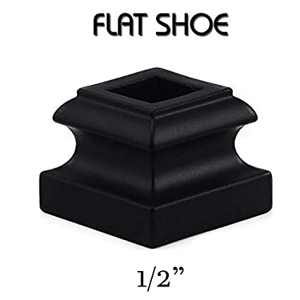 Set of 10 Satin Black for Use with 1//2 Square Balusters Iron Baluster Shoes Flat Shoe with Screw