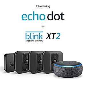 Echo Dot (Charcoal) with Blink XT2 Outdoor/Indoor Smart Security Camera - 3 camera kit