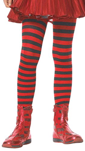 ToBeInStyle Girls' Horizontal Striped Full Length Tights - Black/Red - -