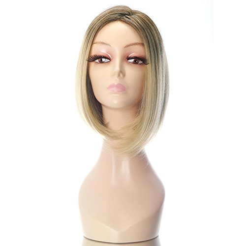 Blonde Hair Wigs (Rabbitgoo Short Flapper Straight Bob Stylish Dark Roots Heat Friendly Cosplay Party Hair Blonde Wig 15.7