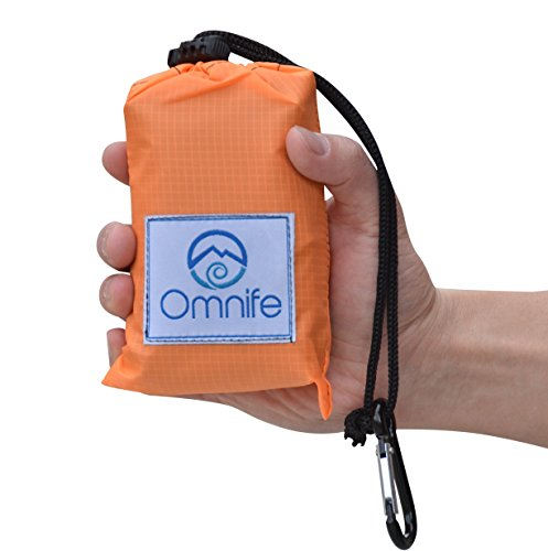 Omnife Premium Pocket Blanket (60 × 55) - Compact Picnic/Camping/Outdoor/Beach Blanket (4 Free Stakes Included)
