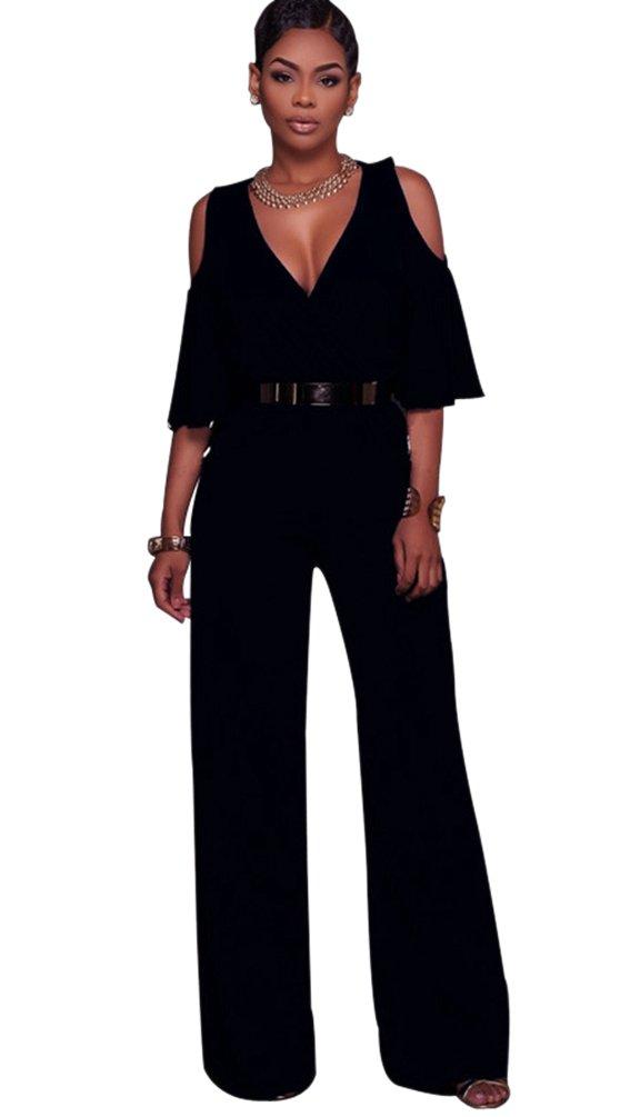 Dooxi Donna Scollo a V Maniche Lunghe Formale Partito Di Jumpsuit Eleganti Puro Colore Tuta con Lungo Pantaloni