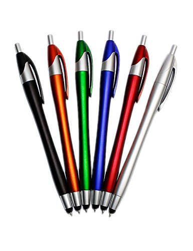 MERFET Capacitive Stylus Pen (6 Pack) for Touchscreen Devices Including Amazon Kindle Fire,iphone 6 6Plus 5S 5 4s 4g,iPod Touch, Apple Ipad,ipad 2 3 4,ipad Mini,iPad Air,Samsung Galaxy Tab, Galaxy S3 S4,nexus 7 and Nexus 10,blackberry Playbook, Barnes and Noble Nook Color, Droid Bionic(Red Black Orange Blue Siver Green) (Tablet Playbook)