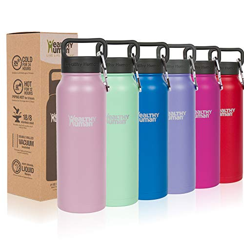 Healthy Human Water Bottles, BPA Free Sports Travel Stainless Steel Insulated Water Bottle Stein 16oz Petal Pink
