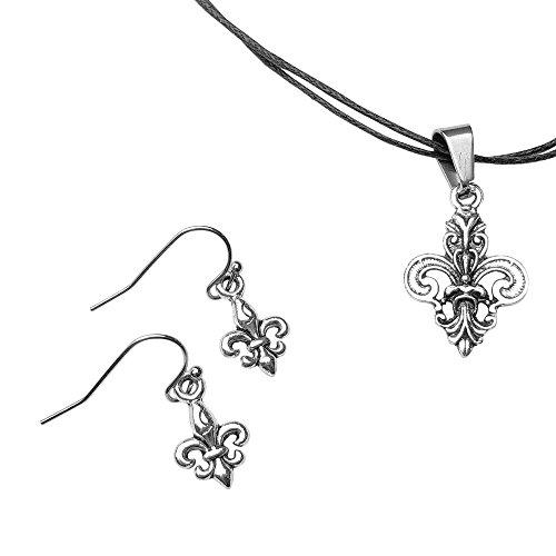 Chimerical Goods Fleur de Lis Earrings & Adjustable Pendant Necklace Jewelry Set (Grand Fleur de Lis)