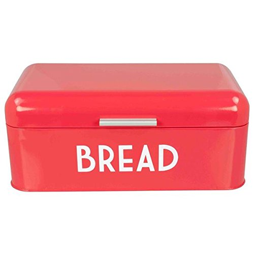 Home-Basics-Metal-Vintage-Red-Retro-Bread-Box-Red