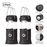 Solar Lantern Flashlights, 2 Pack USB Rechargeable Camping Lantern Led, Collapsible & Portable for Emergency, Hurricanes, Power Outage, Storm (Black)