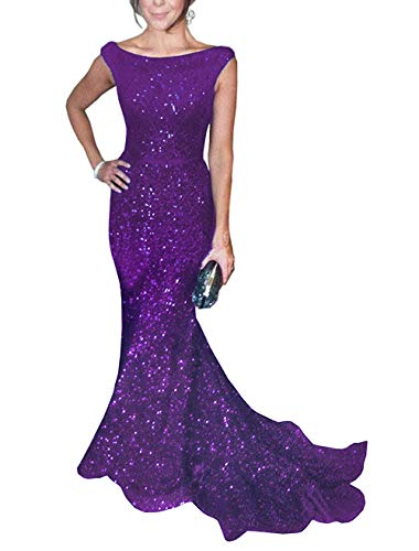 SOLOVEDRESS Women's Mermaid Sequined Formal Evening Dress for Wedding Prom Gown (US 16 Plus,Purple)
