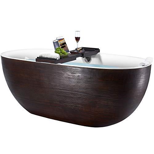 AKDY Freestanding Bathtub - 67 Inch Brown Wood Acrylic Tub for Bathroom - Flat Bottom Stand Alone Bathtub - Modern and Elegant Style - Comfortable Curved Design - Luxurious SPA Soaking