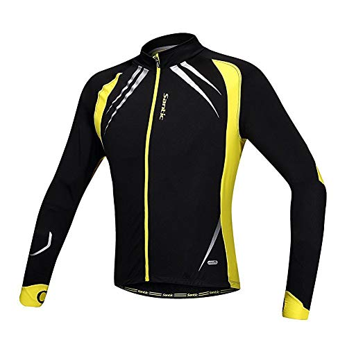 Santic Mens Cycling Jacket Winter Coat Inner Fleece Jacket Windproof Thermal Soft Shell Reflective Yellow