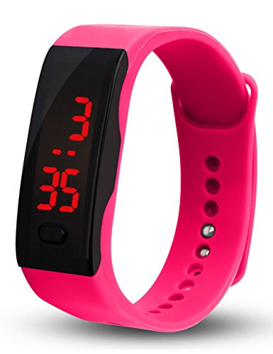 Unisex Touch Digital LED Screen Waterproof Sport Wristwatch Pink - 9
