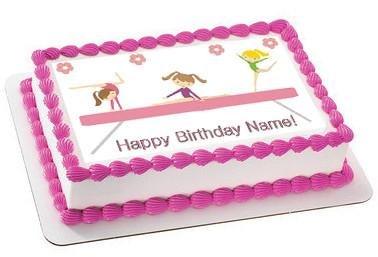 Gymnastics Tumbling Gym Girls Cake OR Cupcake Topper
